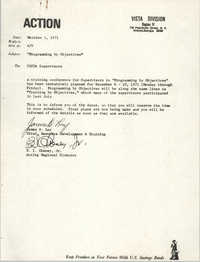 Memorandum from James D. Lay and B. I. Cheney, Jr. to VISTA Supervisors, October 1, 1971