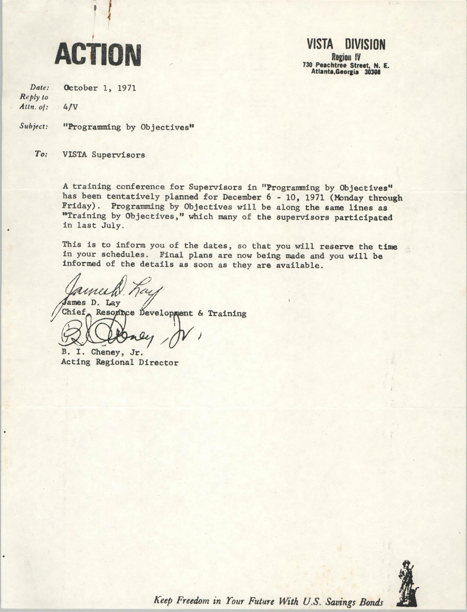 Memorandum from James D. Lay and B. I. Cheney, Jr. to VISTA Supervisors, October 1, 1971