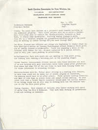 Memorandum from Gail MacRae to Bernice Robinson, September 1971