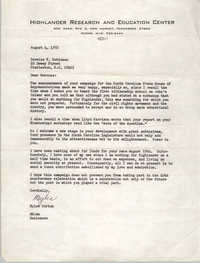 Letter from Myles Horton to Bernice V. Robinson, August 4, 1972