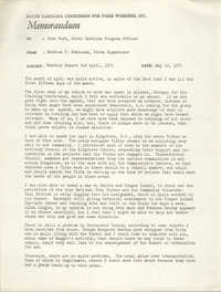 Memorandum from Bernice V. Robinson to John Hurt, May 10, 1972