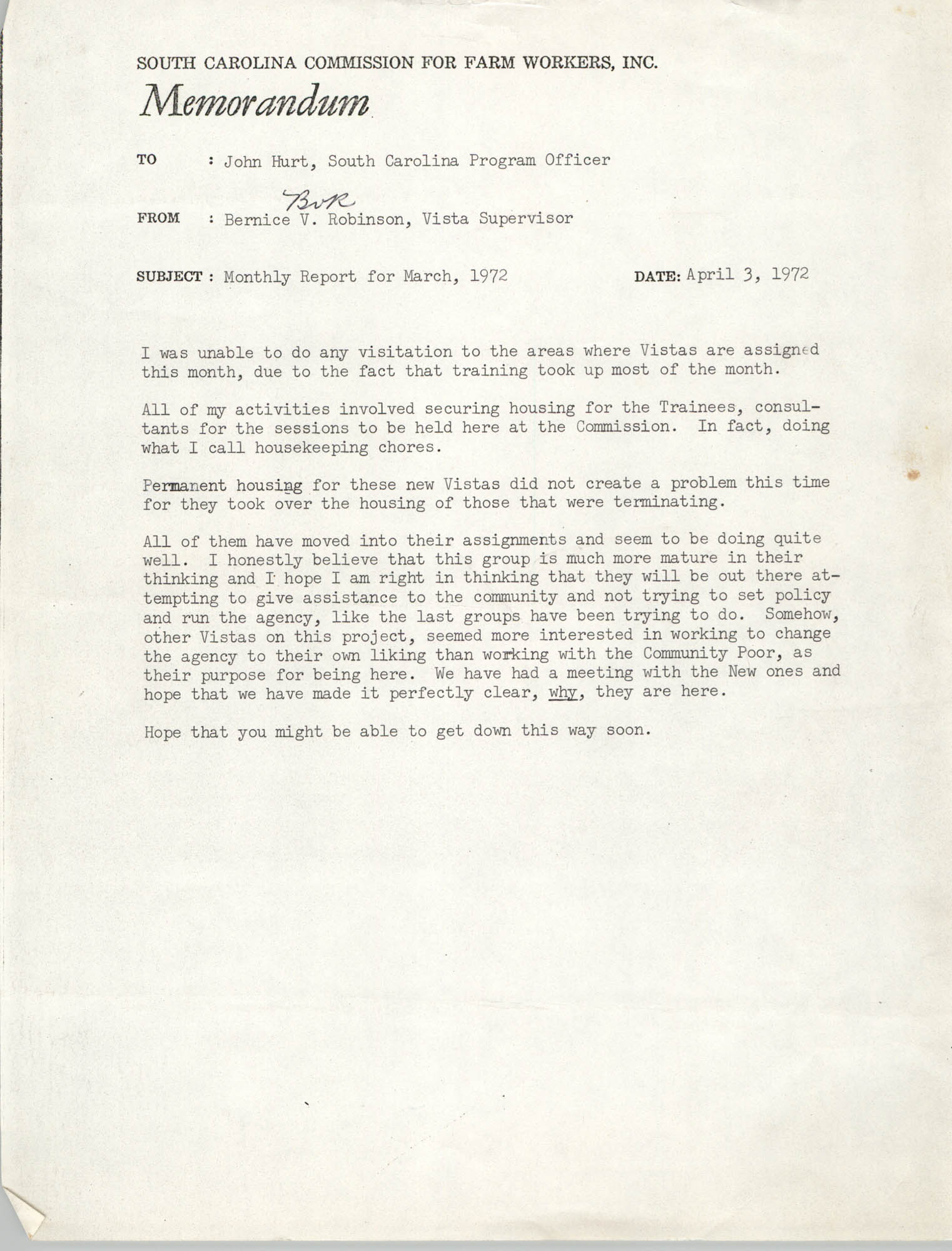 Memorandum from Bernice V. Robinson to John Hurt, March 1972