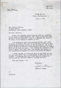Letter from Sylvia W. Orange to Bernice Robinson, July 27, 1972