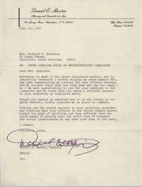 Letter from Daniel E. Martin to Bernice Robinson, July 29, 1972
