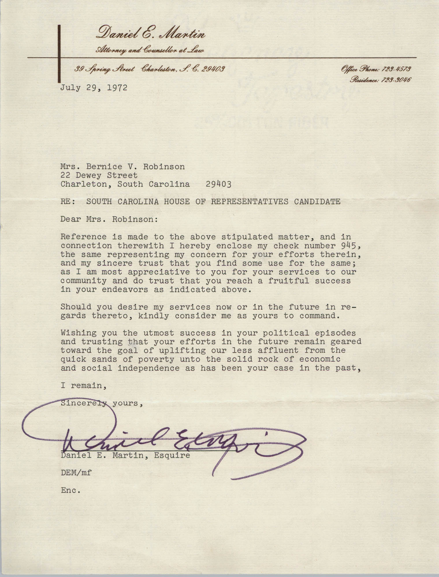 Letter from Daniel E. Martin to Bernice Robinson, July 29, 1972