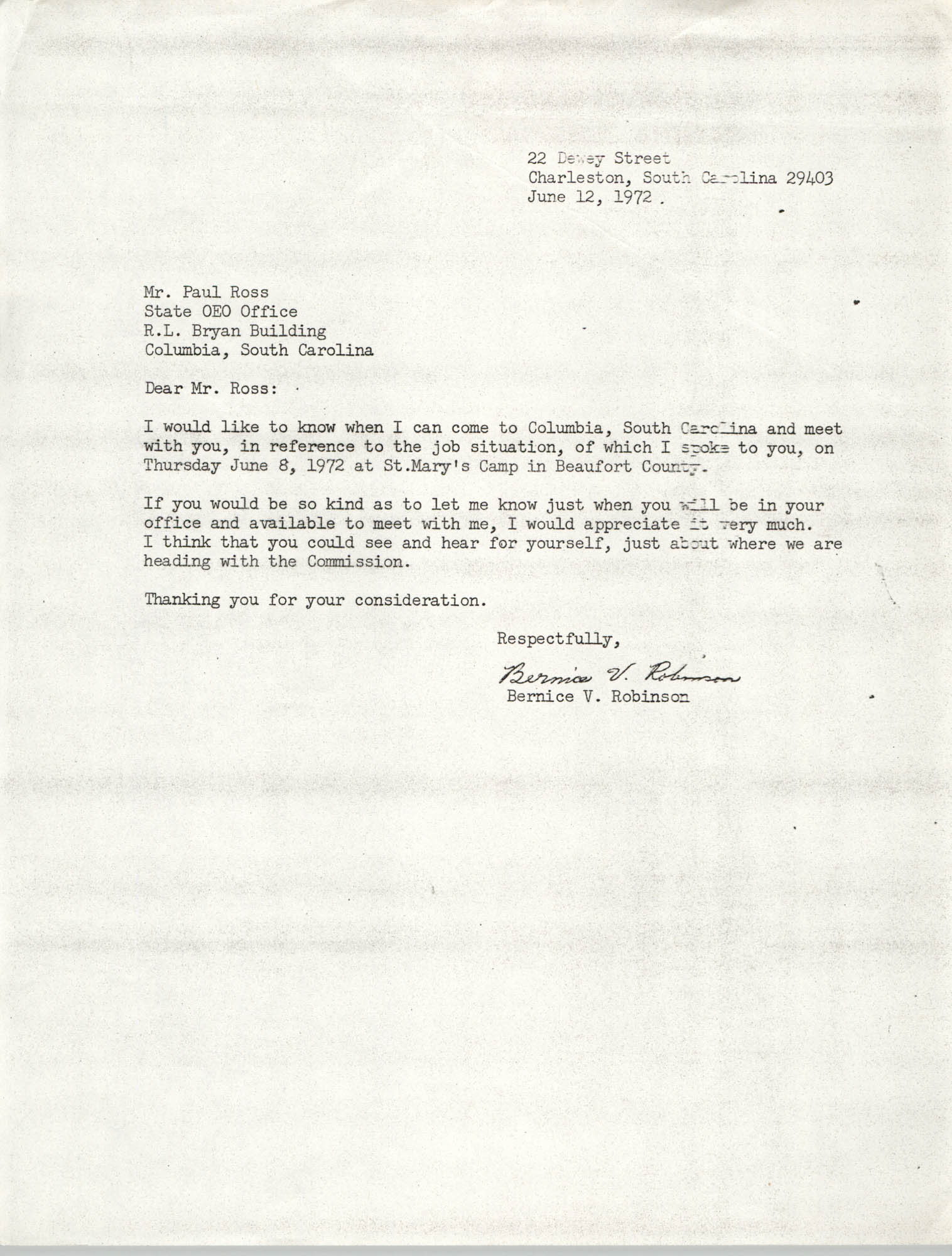 Letter from Bernice V. Robinson to Paul Ross, June 12, 1972