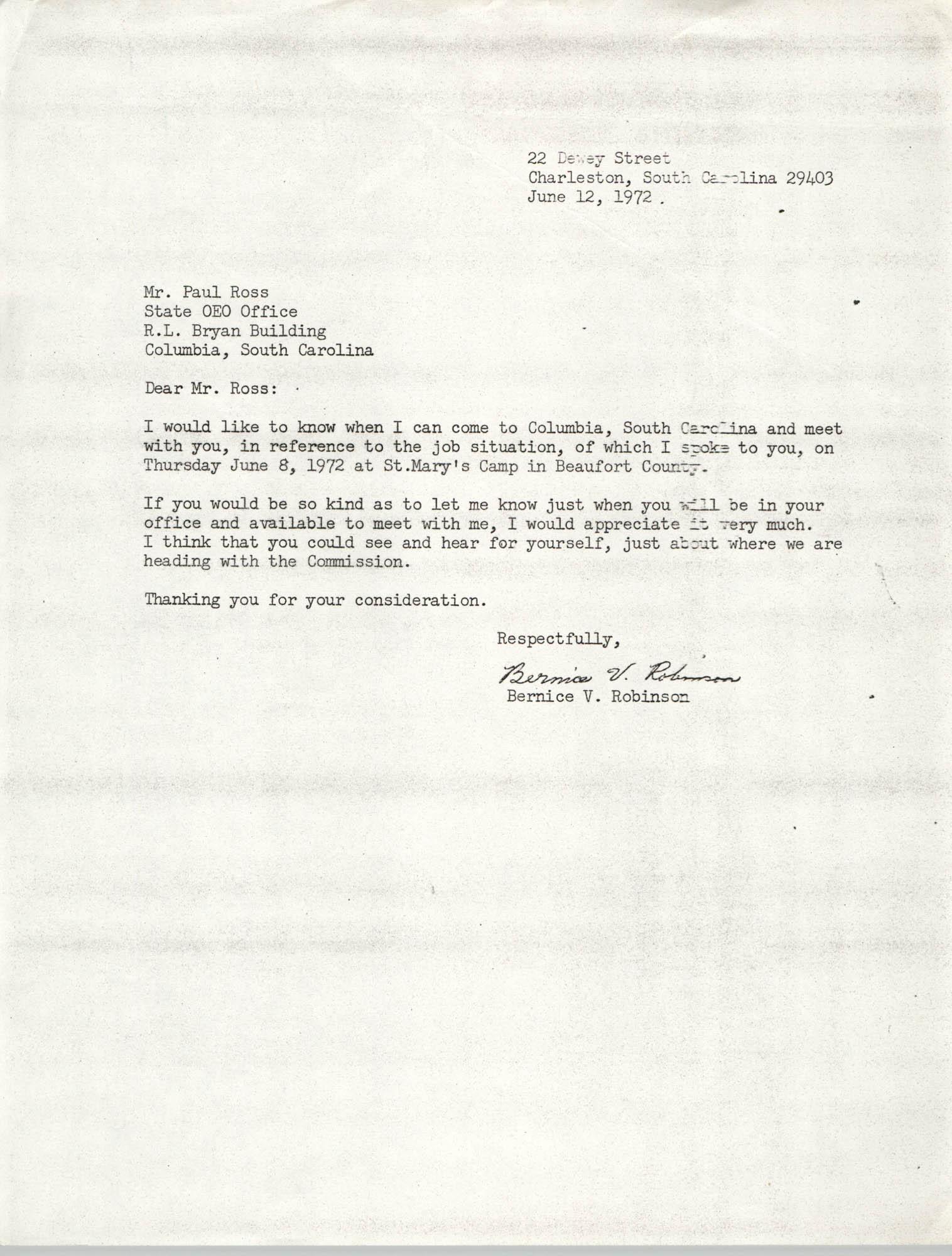 Letter from Bernice V. Robinson to Paul Ross, June 12, 1972