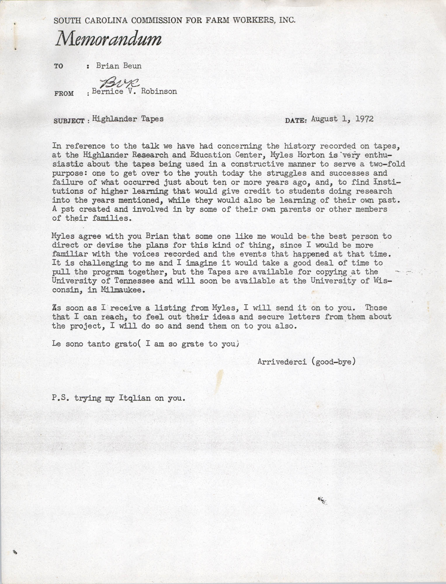 Memorandum from Bernice V. Robinson to Brian Beun, August 1, 1972