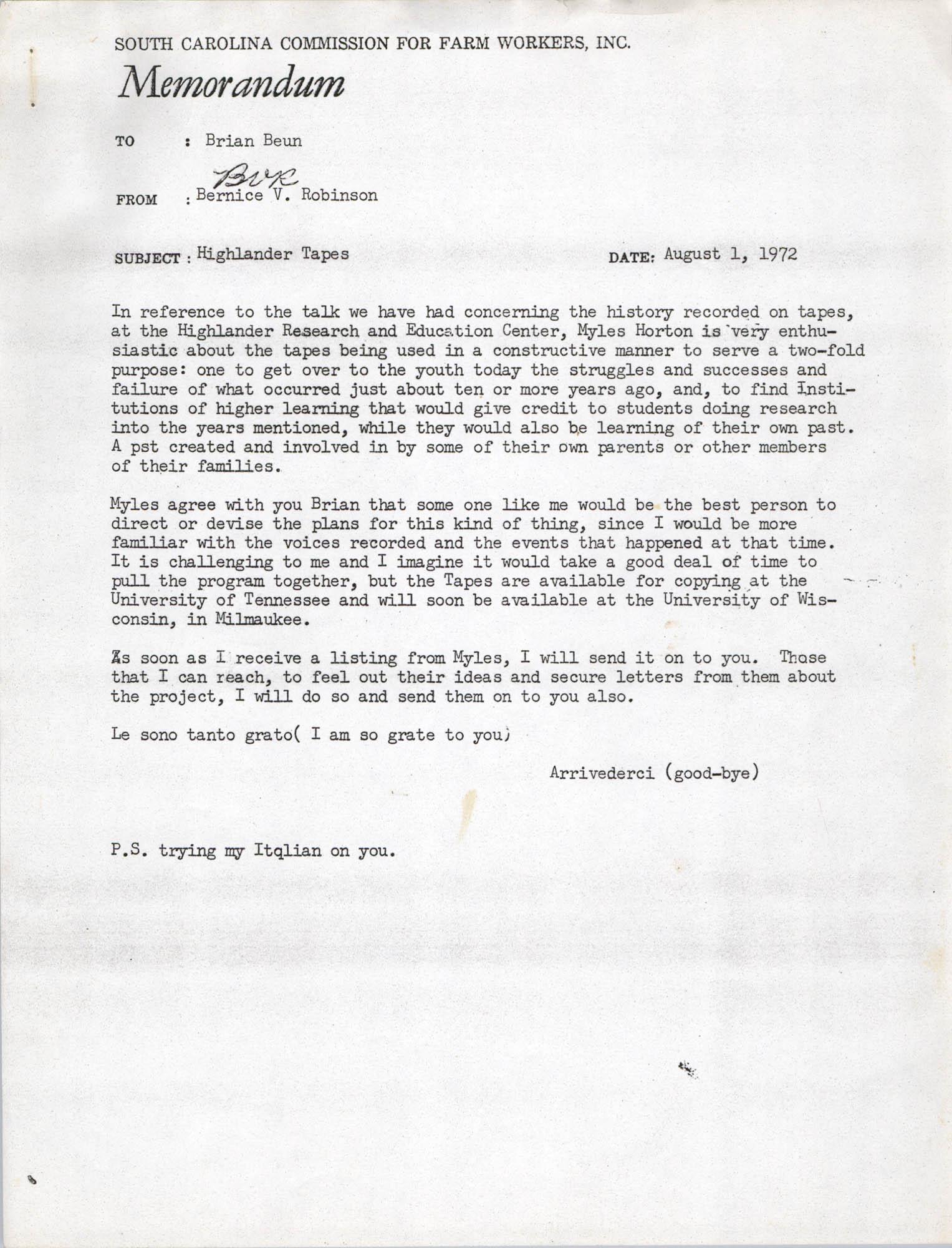 Memorandum from Bernice V. Robinson to Brian Beun, August 1, 1972