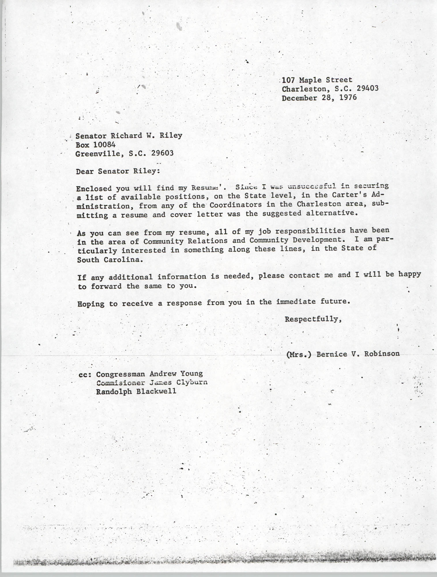 Letter from Bernice V. Robinson to Richard W. Riley, December 28, 1976
