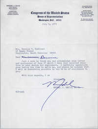 Letter from Mendel Davis to Bernice Robinson, July 5, 1973