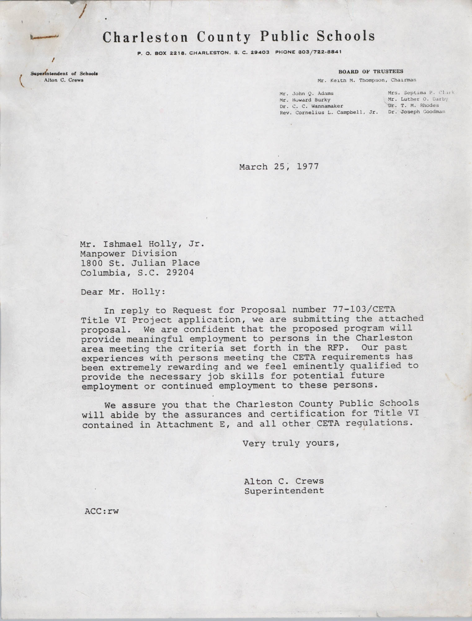 Letter from Alton C. Crews to Ishmael Holly, Jr., March 25, 1977