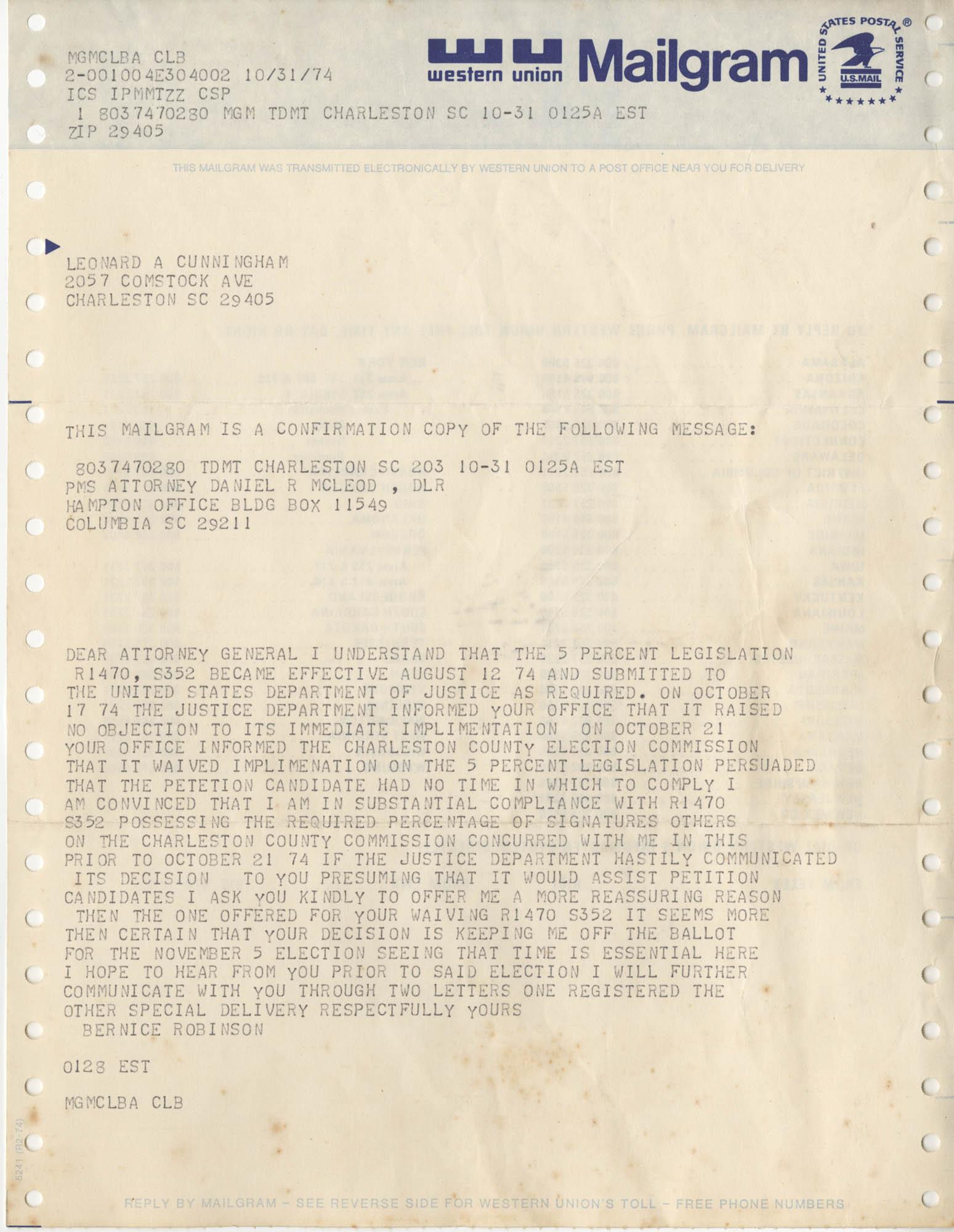 Mailgram from Bernice Robinson to Leonard Cunningham, October 31, 1974