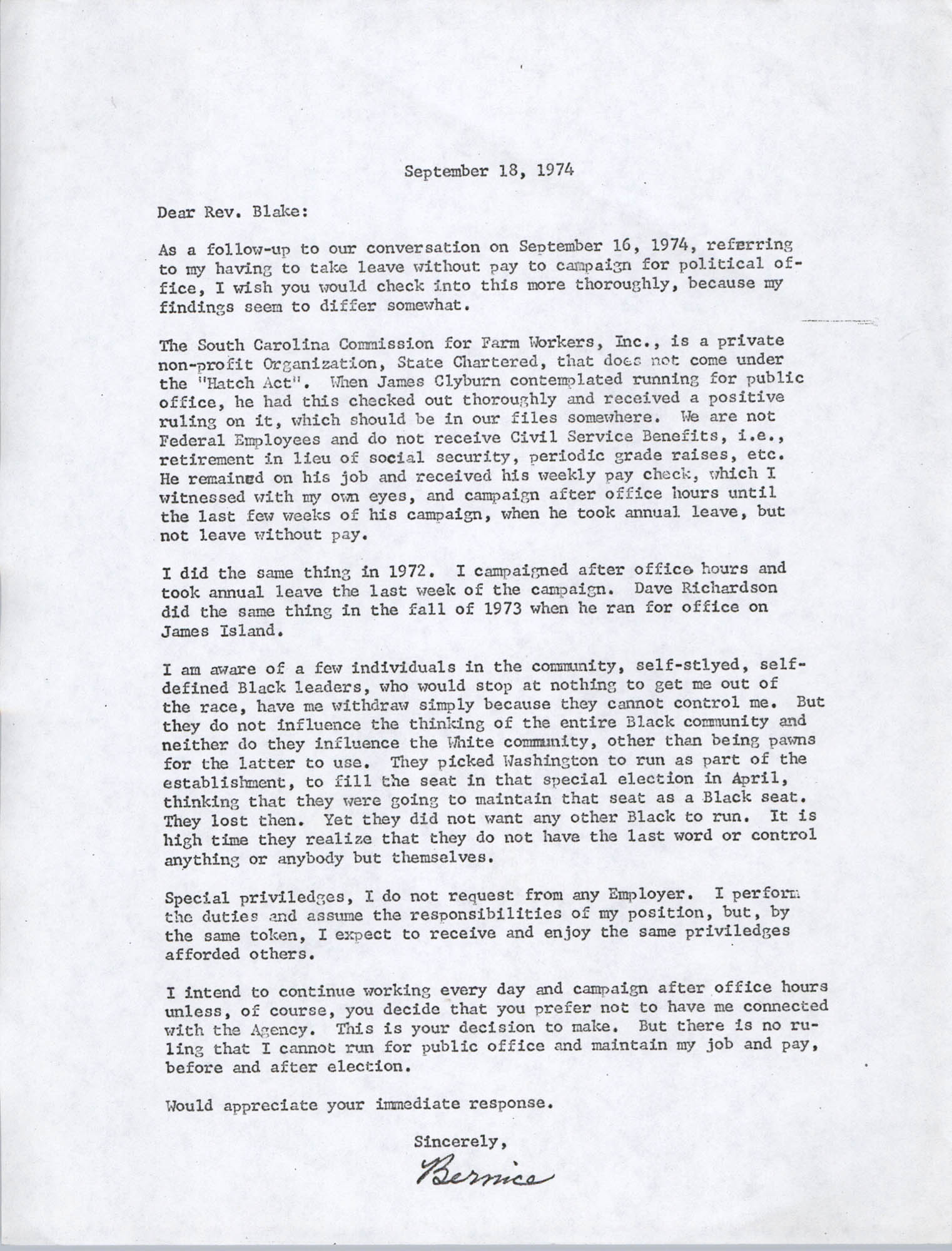 Letter from Bernice Robinson to Reverend Blake, September 18, 1974