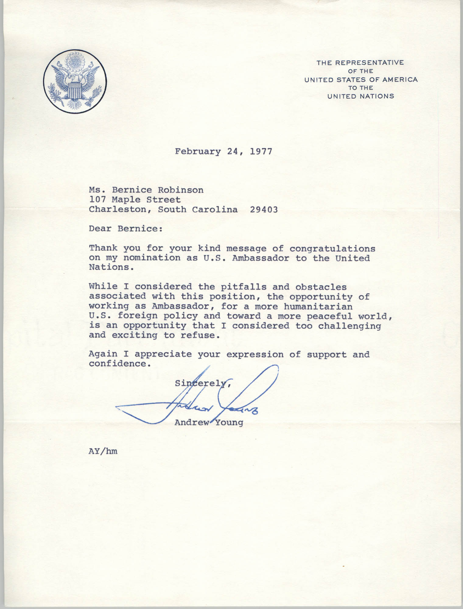 Letter from Andrew Young to Bernice Robinson, February 24, 1977