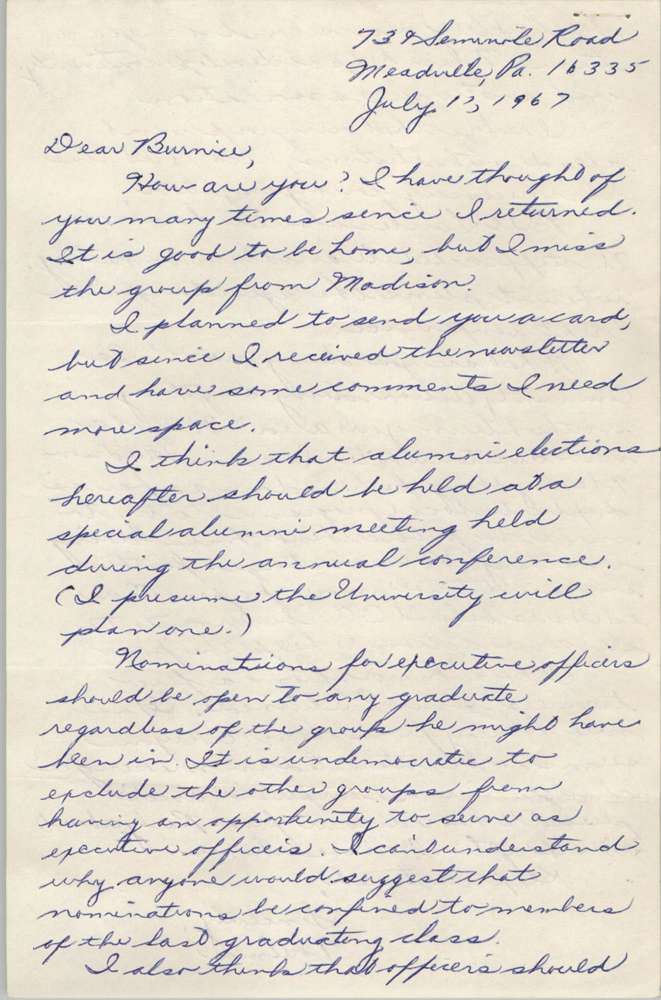 Letter from Thelma Addleman to Bernice Robinson, July 1967