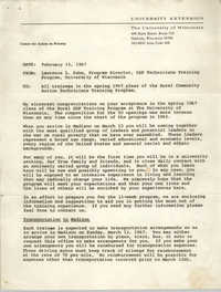 Memorandum from Lawrence L. Suhm to Training Program Trainees, February 15, 1967