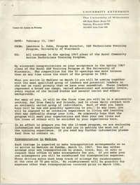 Memorandum from Lawrence L. Suhm to Training Program Trainees, February 15, 1967