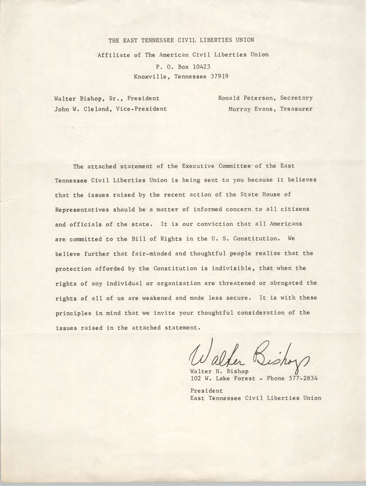 Statement from Walter H. Bishop, April 11, 1967