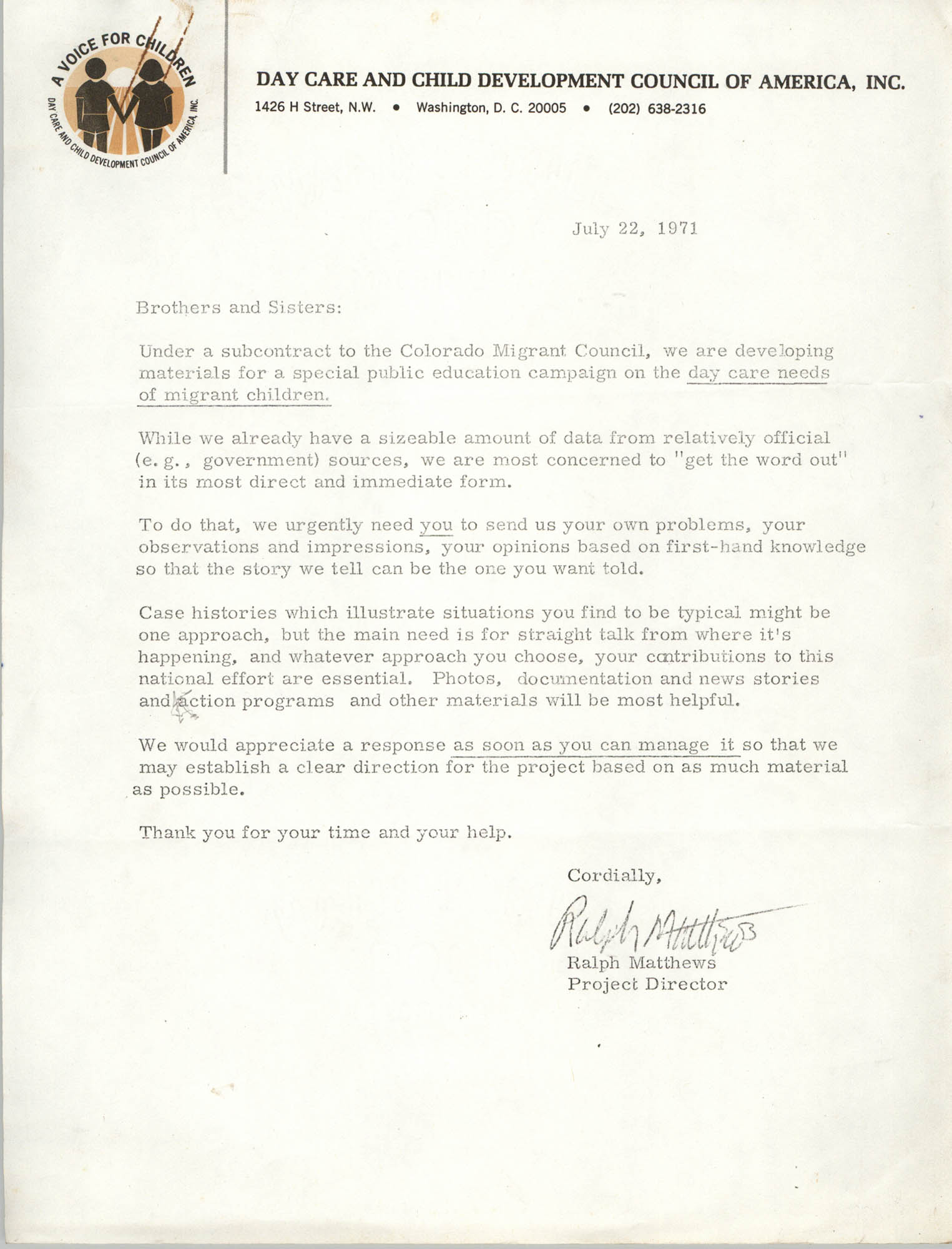 Letter from Ralph Matthews to