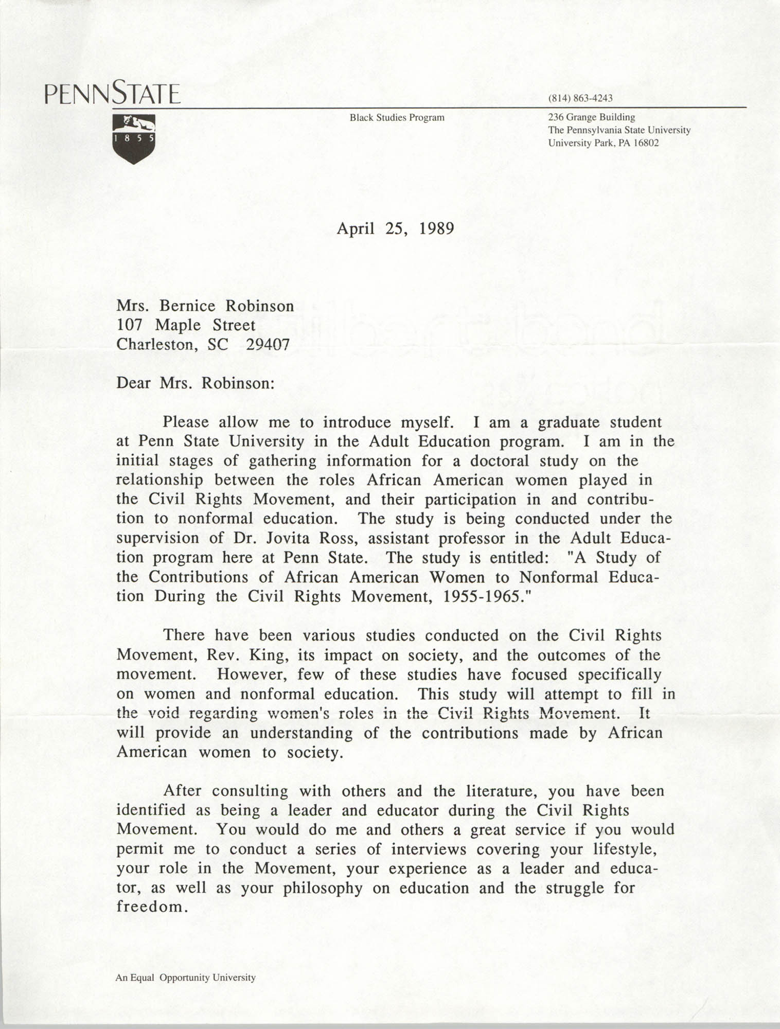 Letter from LaVerne Gyant to Bernice Robinson, April 25, 1989