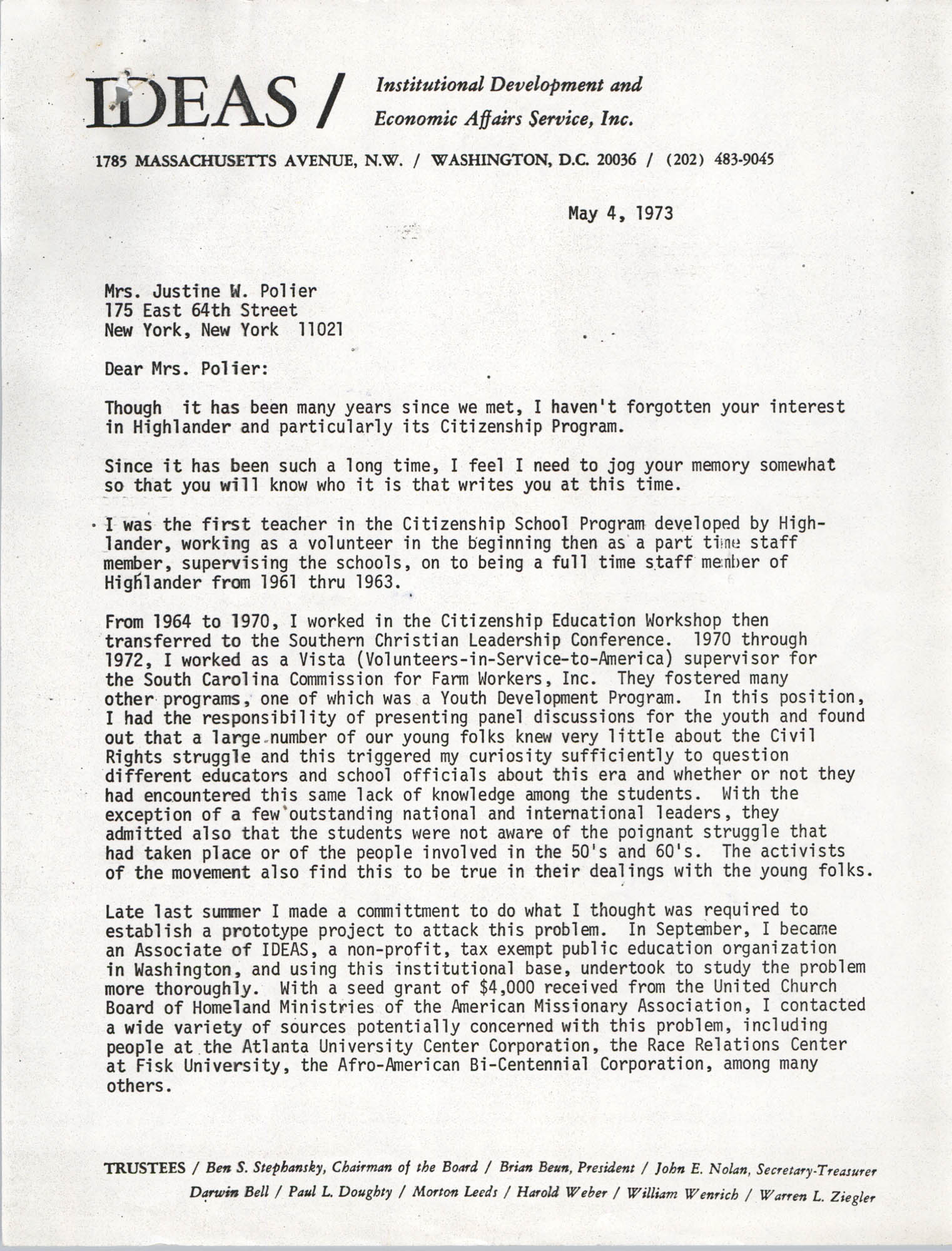 Letter from Bernice Robinson to Justine W. Polier, May 4, 1973