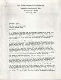 Letter from Bernice Robinson to Katie Hooper, February 22, 1972