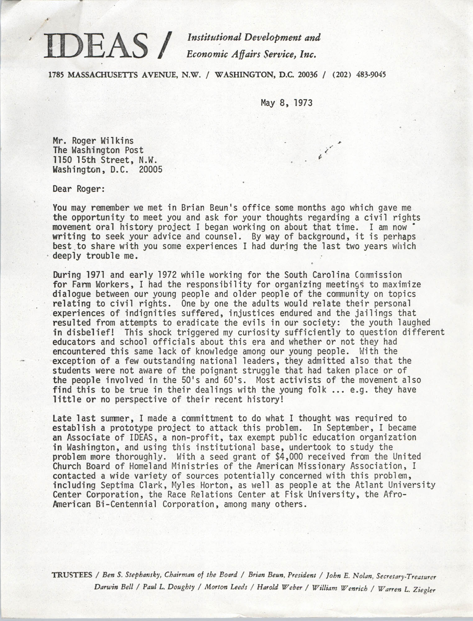 Letter from Bernice Robinson to Roger Wilkins, May 8, 1973