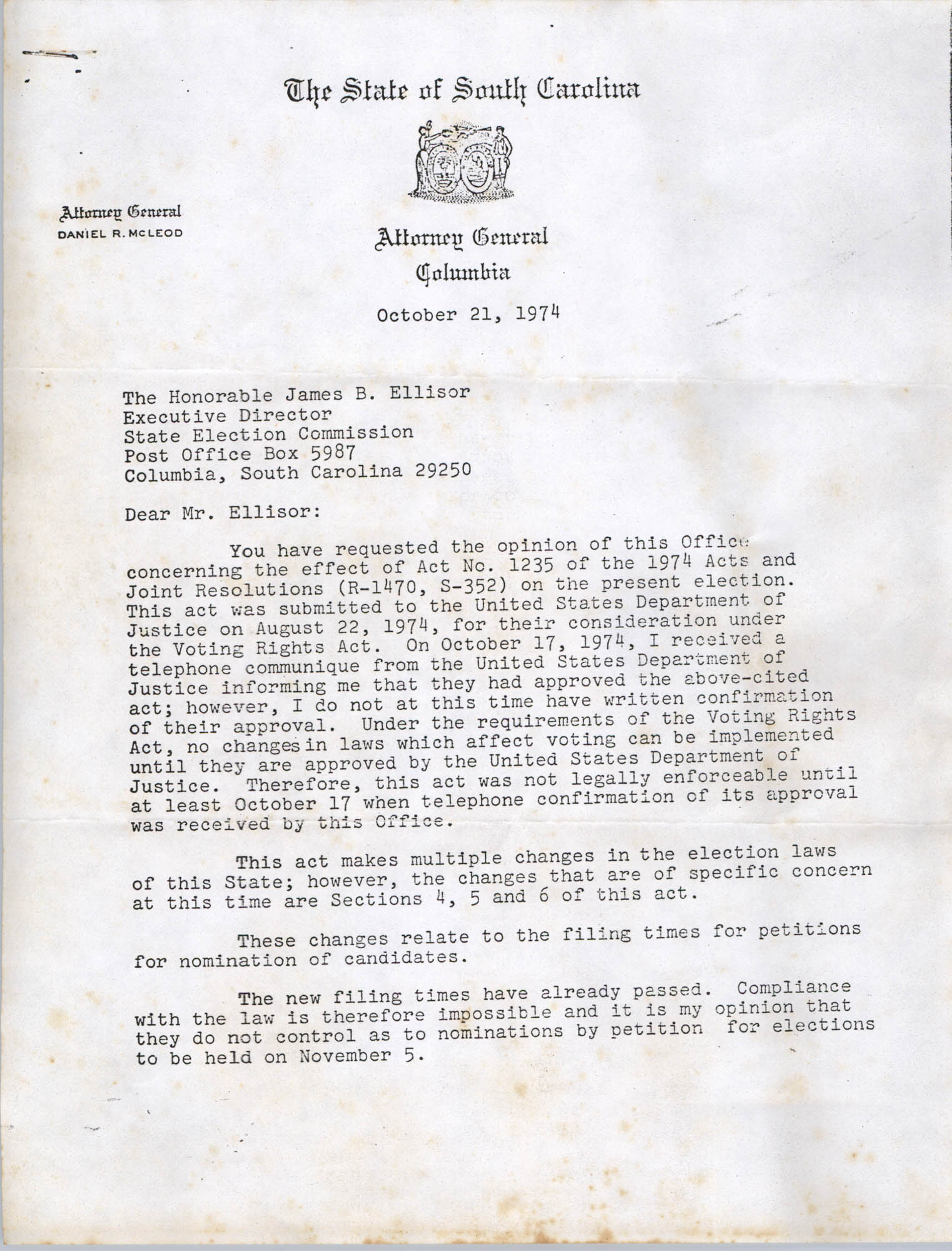 Letter from Treva Ashworth to Bernice Robinson, October 31, 1974