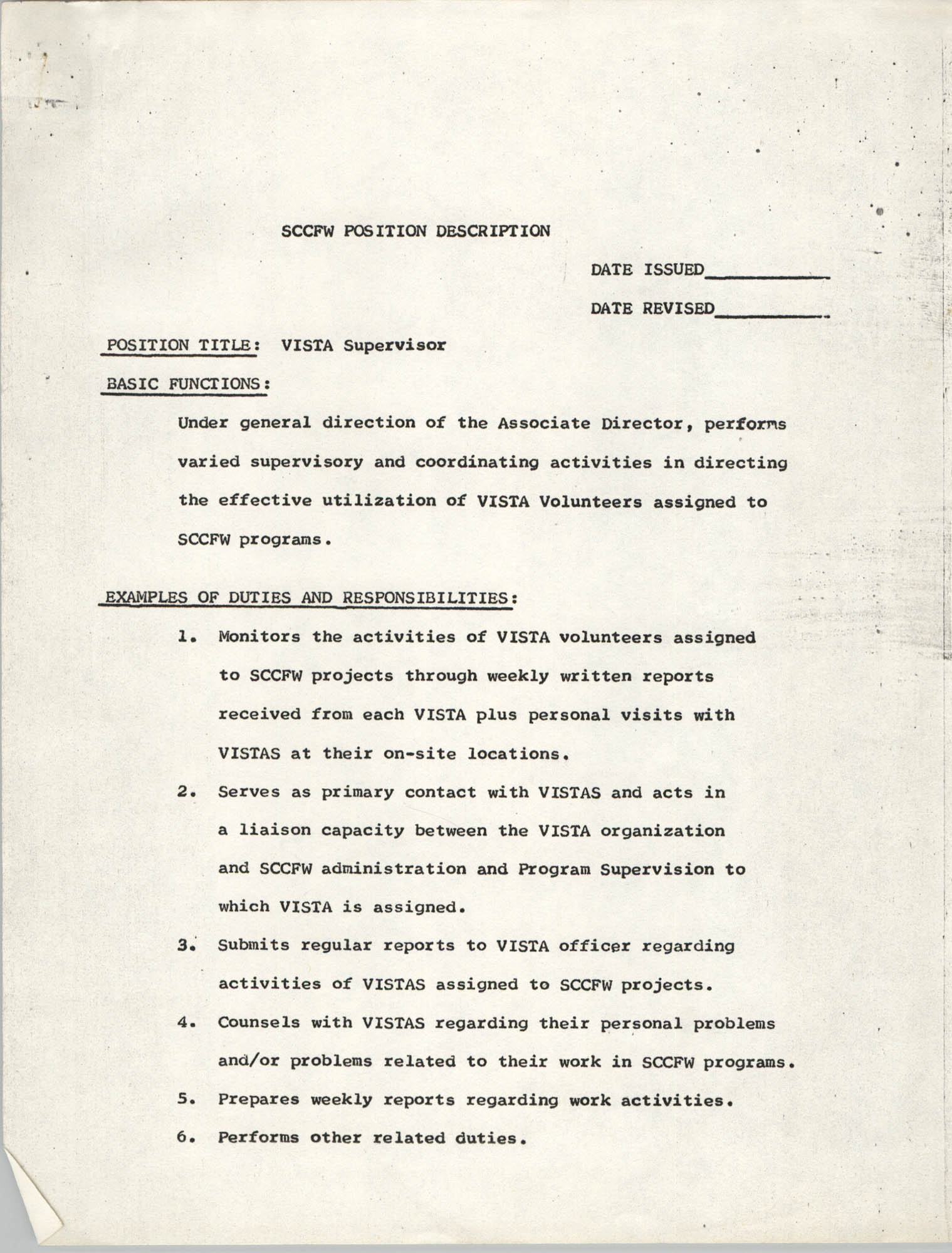 South Carolina Commission for Farm Workers Position Description, VISTA Supervisor