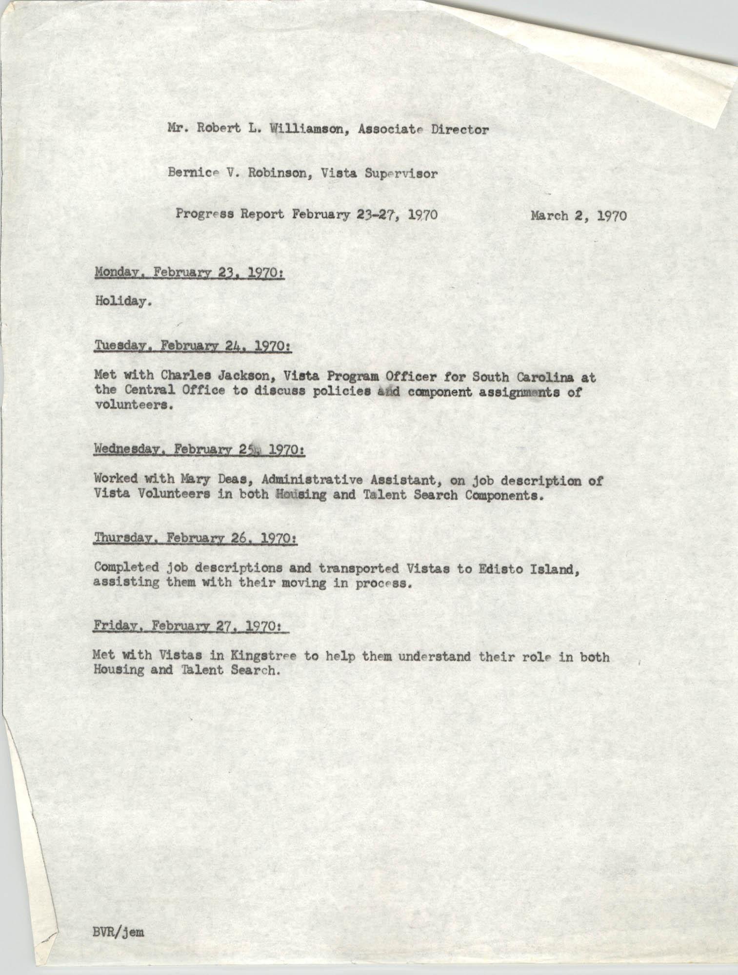 VISTA Progress Report, Week of February 23-27, 1970