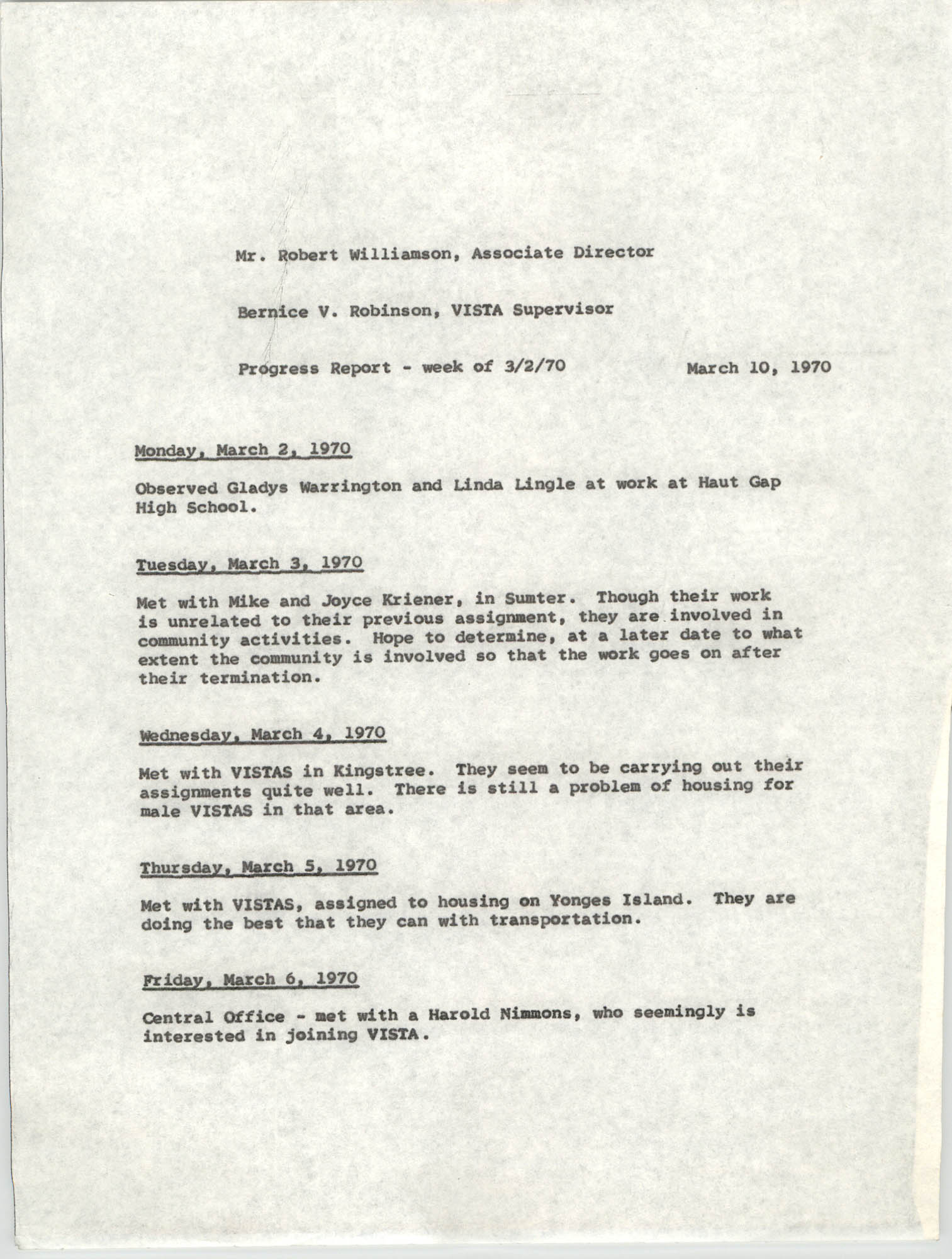 VISTA Progress Report, Week of March 2, 1970
