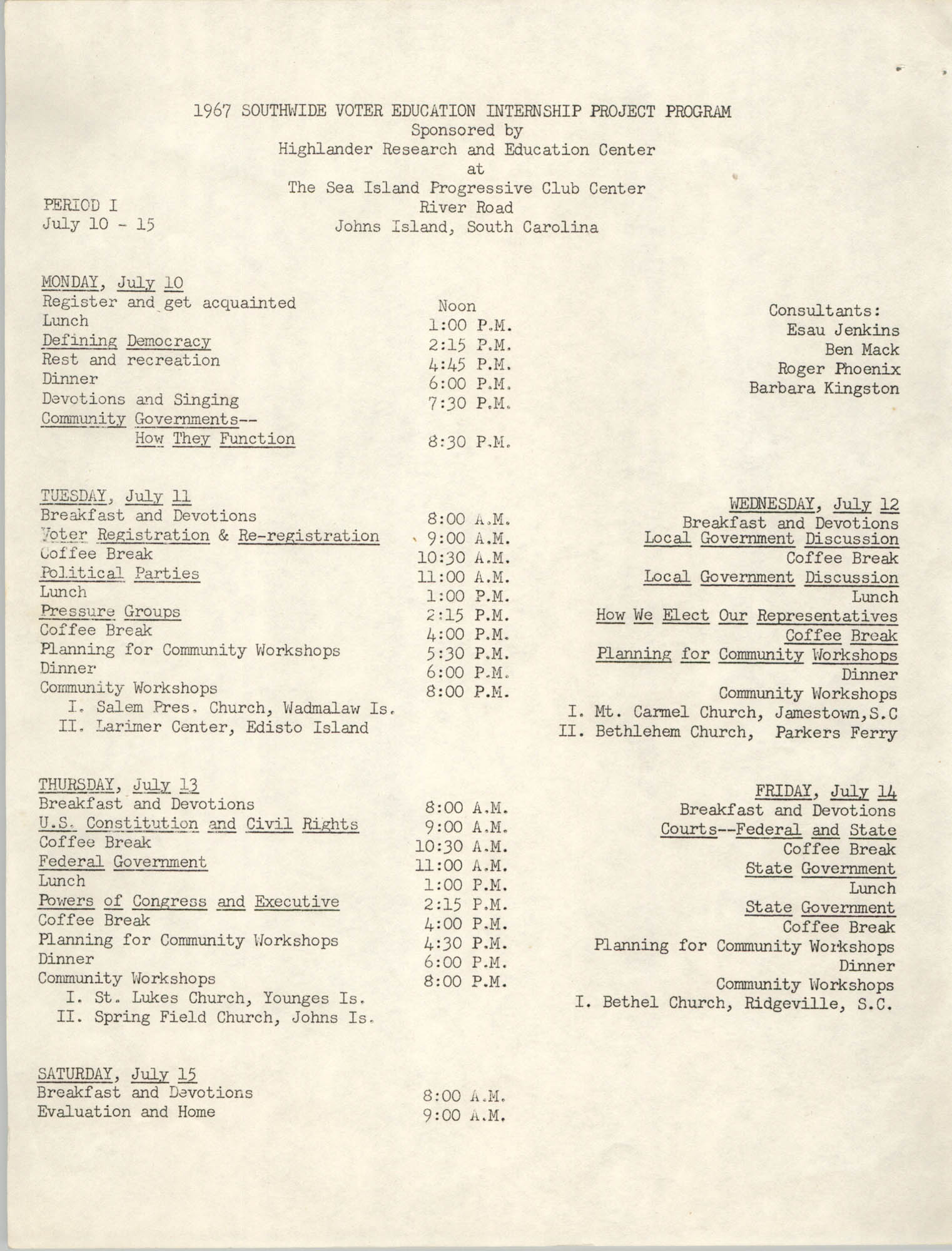 1967 Southwide Voter Education Internship Project Program and Application