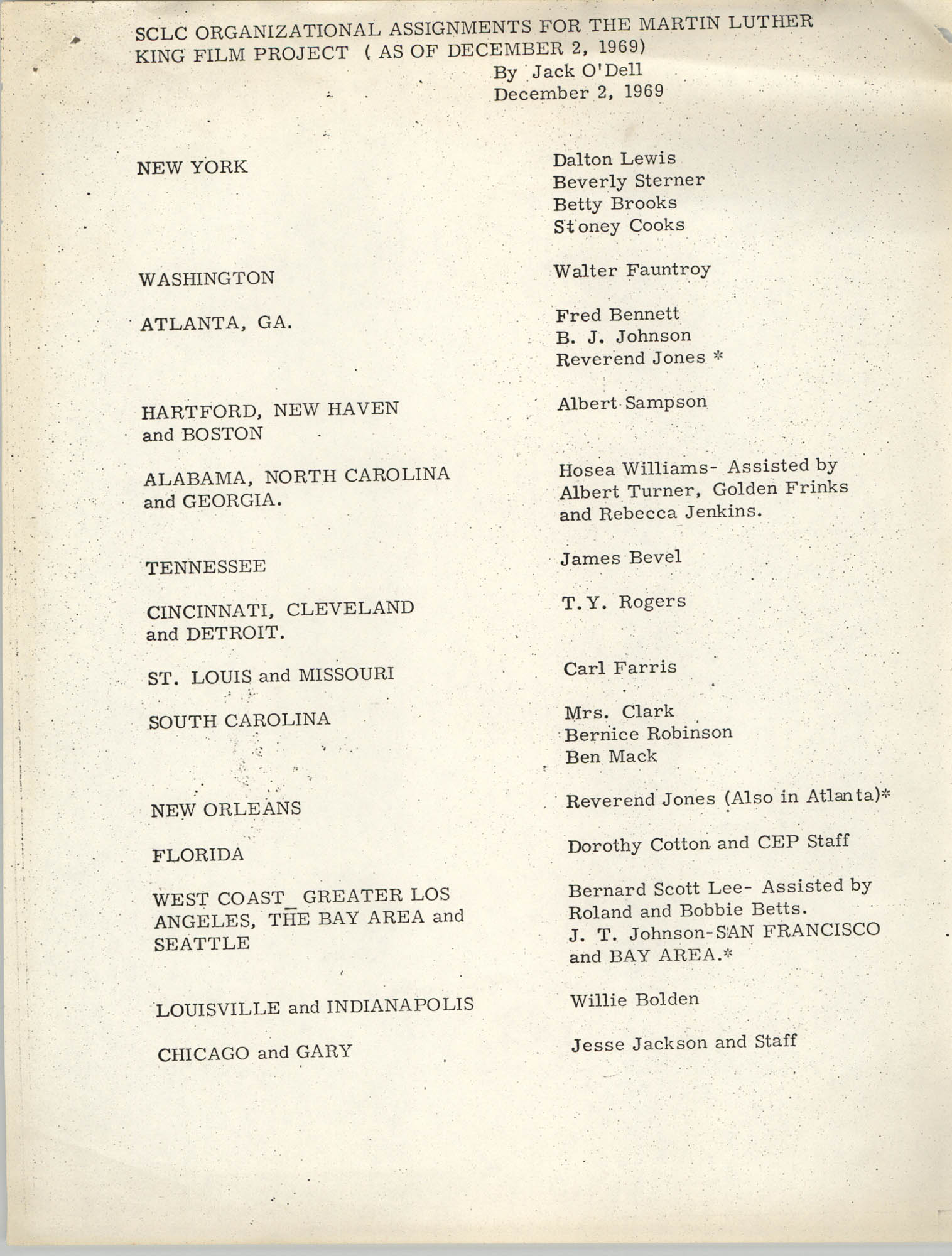 SCLC Organizational Assignments for the Martin Luther King Film Project