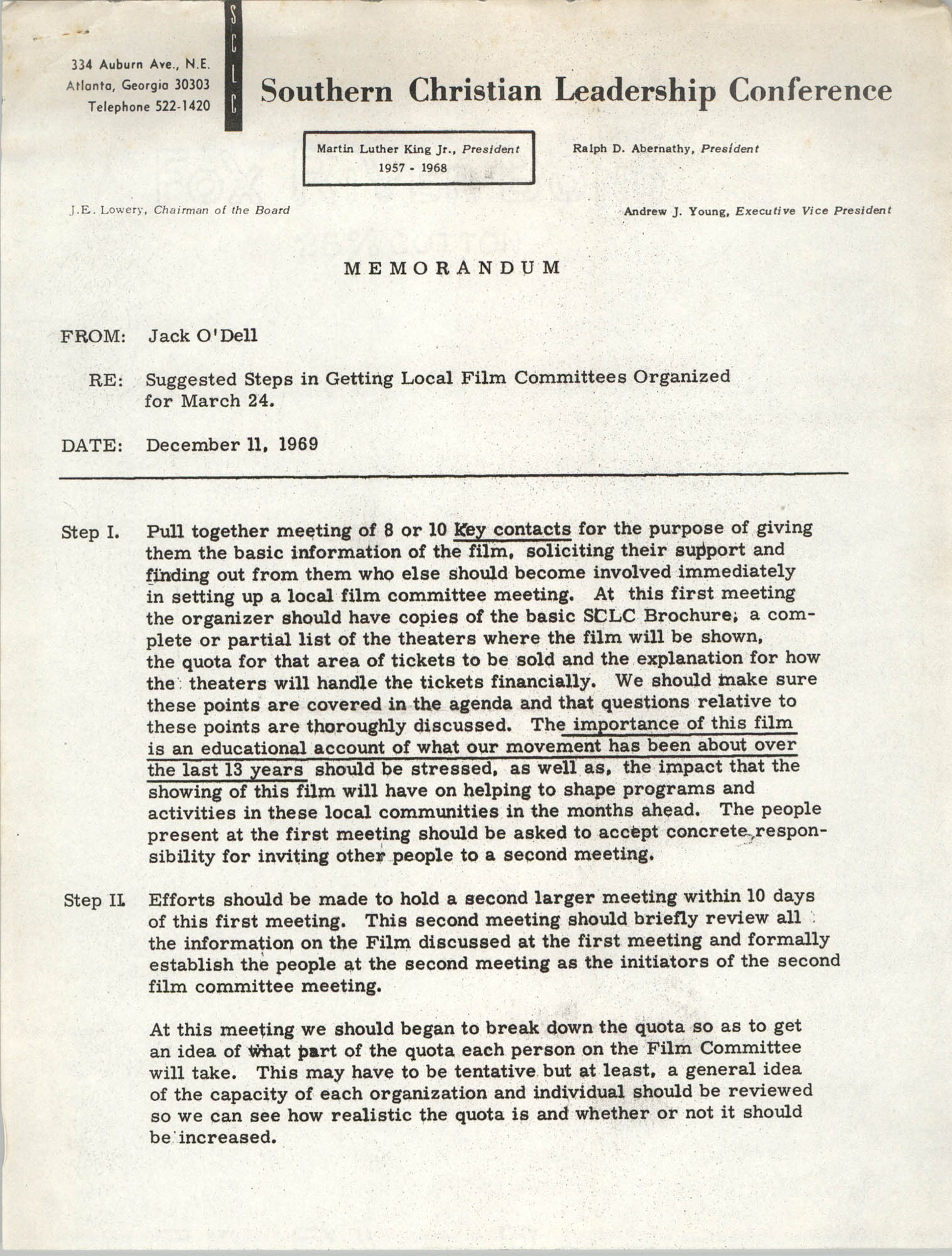 Memorandum from Jack O'Dell to Souther Christian Leadership Conference, December 11, 1969