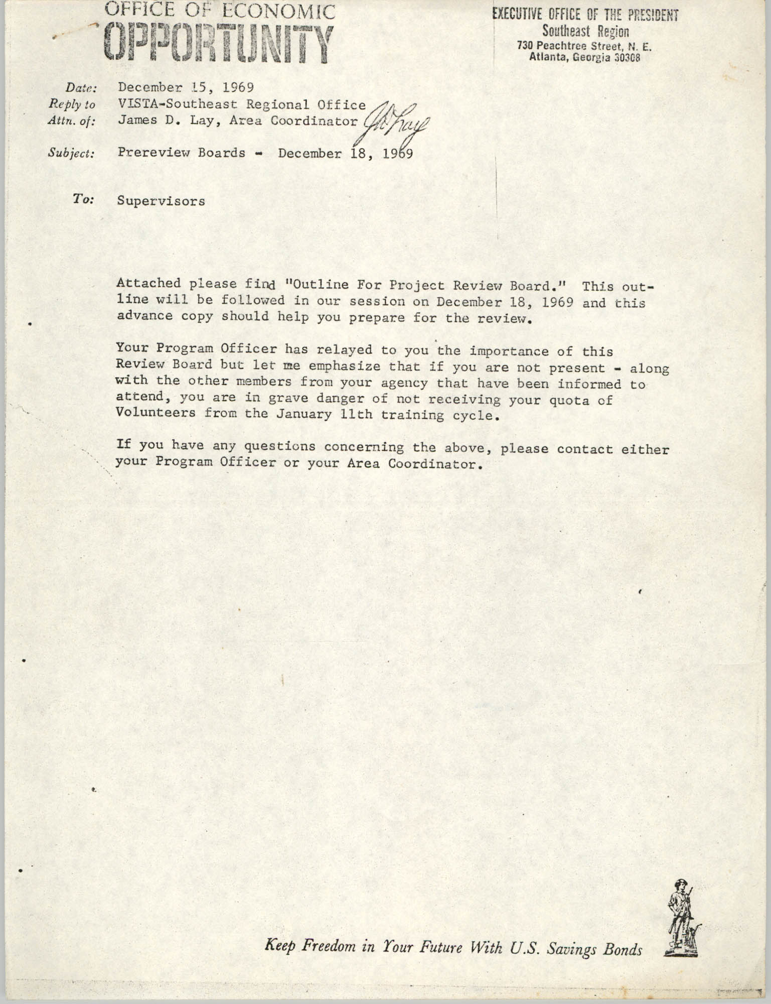 Office of Economic Opportunity Memorandum, December 15, 1969