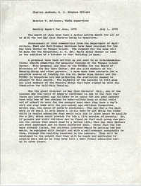 VISTA Memorandum, Monthly Progress Report, June 1970