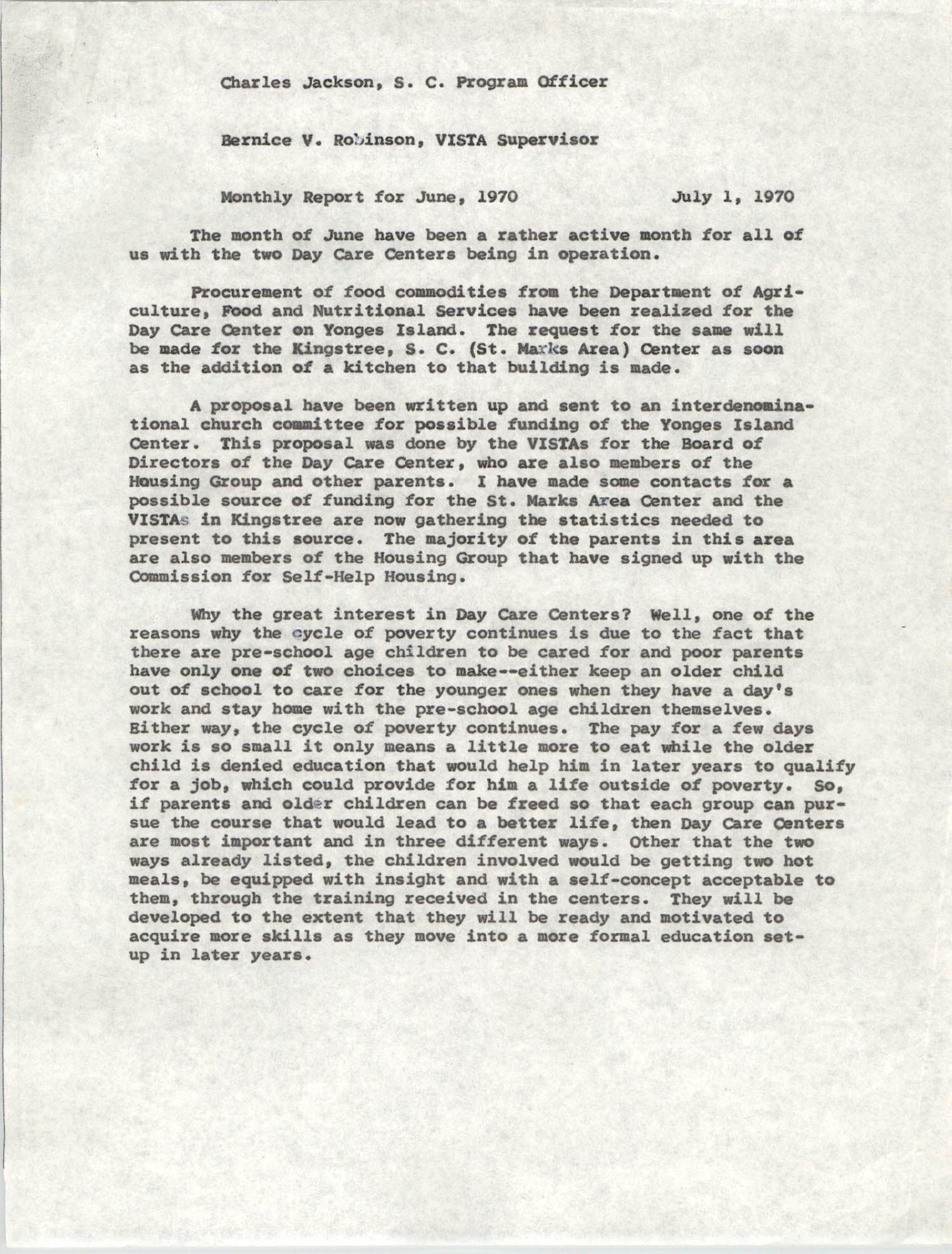 VISTA Memorandum, Monthly Progress Report, June 1970
