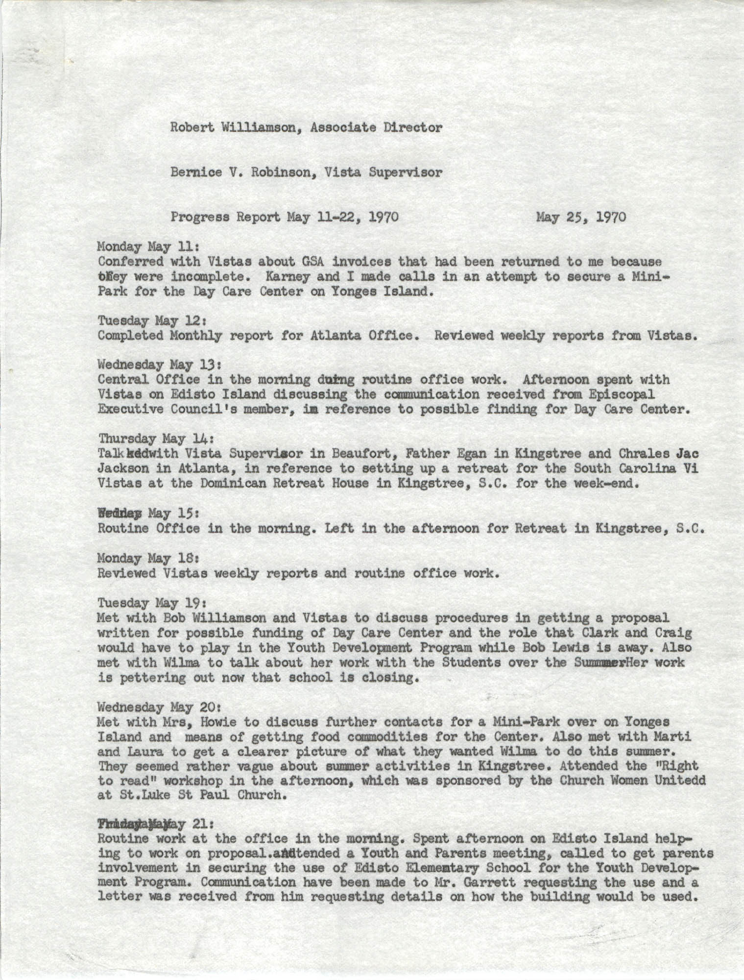 VISTA Activity Report, May 11-22, 1970