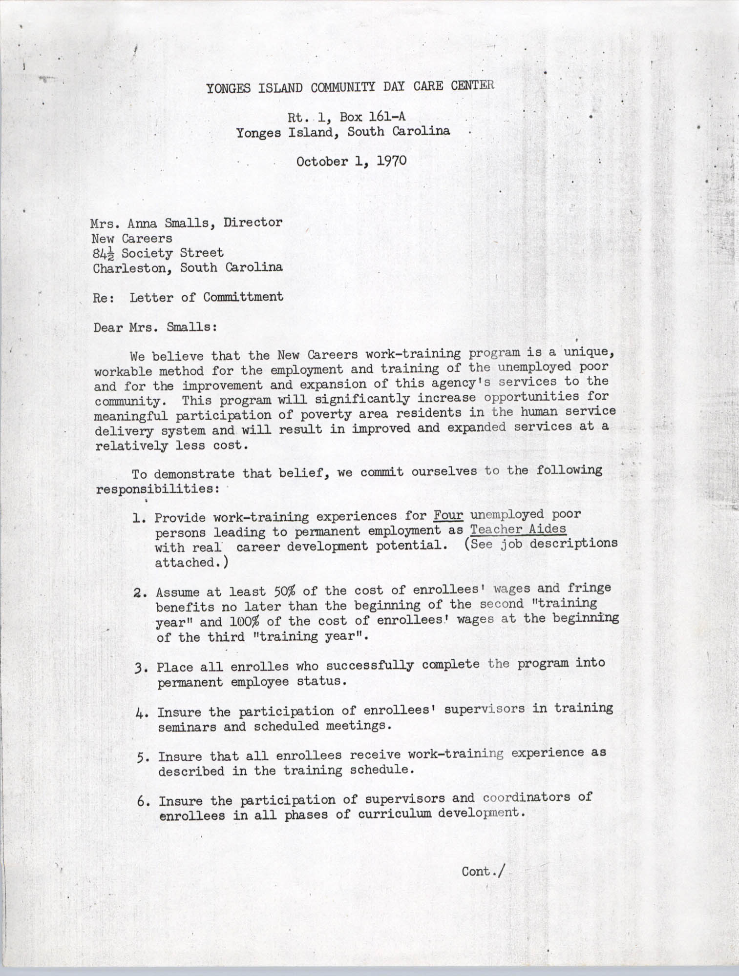 Letter from Yonges Island Community Day Care Center to Anna Smalls, October 1, 1970