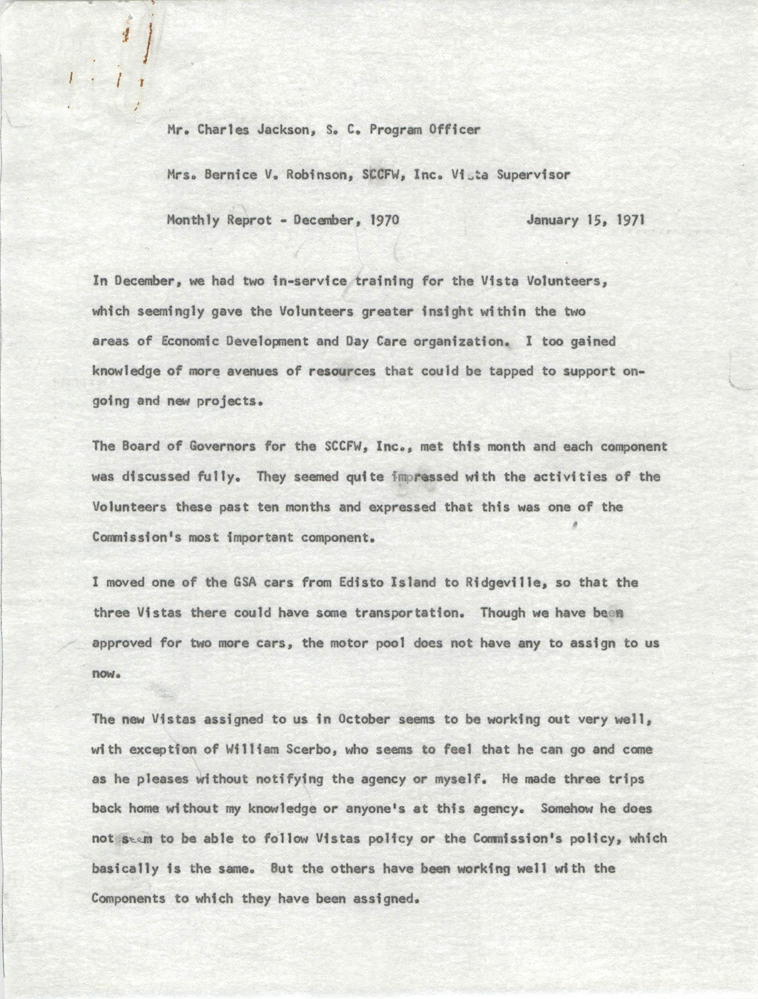 VISTA Memorandum, Monthly Progress Report, December 1970