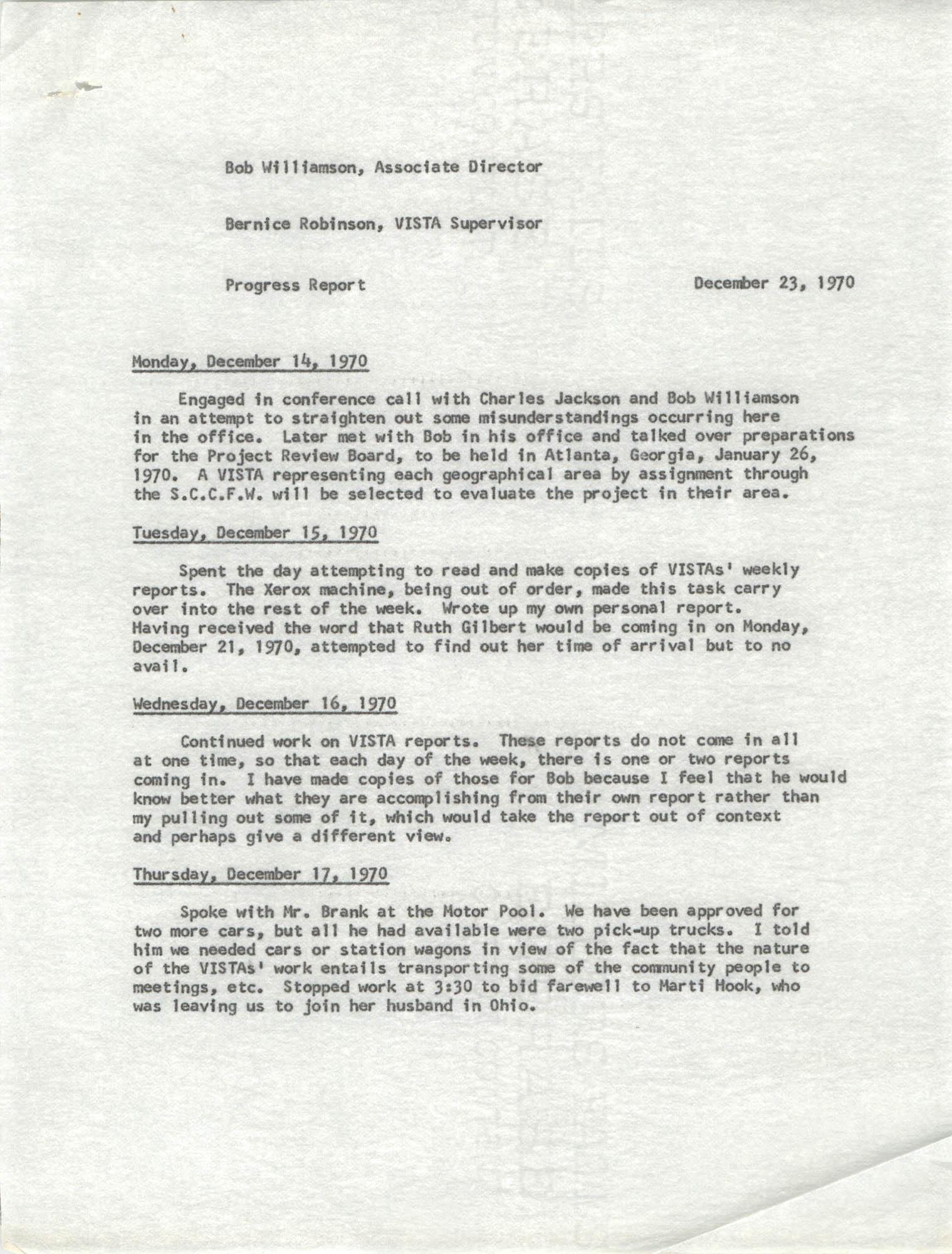 VISTA Progress Report, December 14-23, 1970