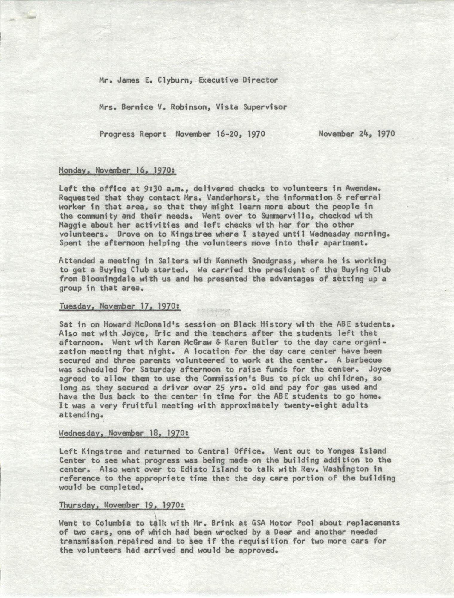 VISTA Progress Report, November 16-20, 1970