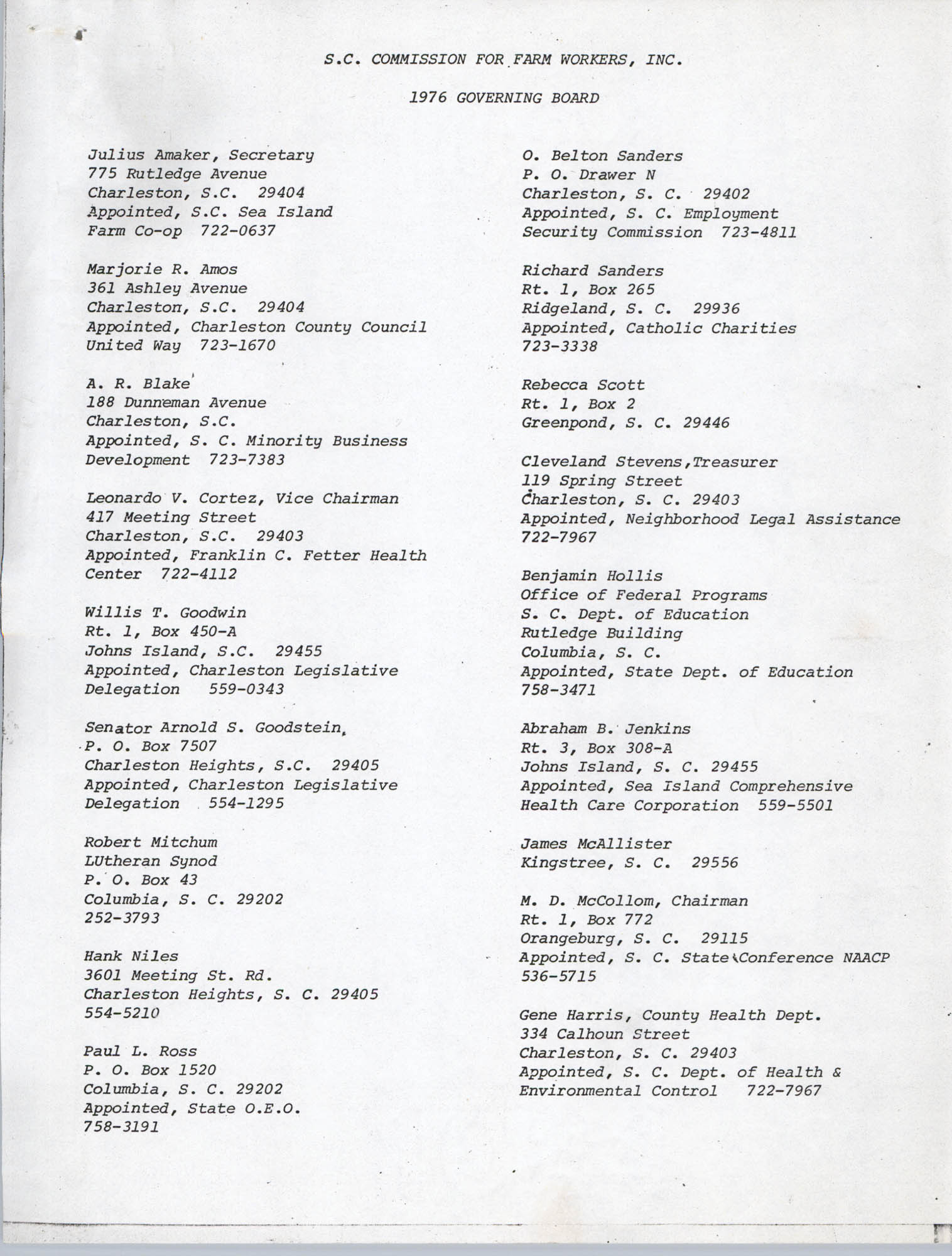 S. C. Commission For Farm Workers, 1976 Governing Board