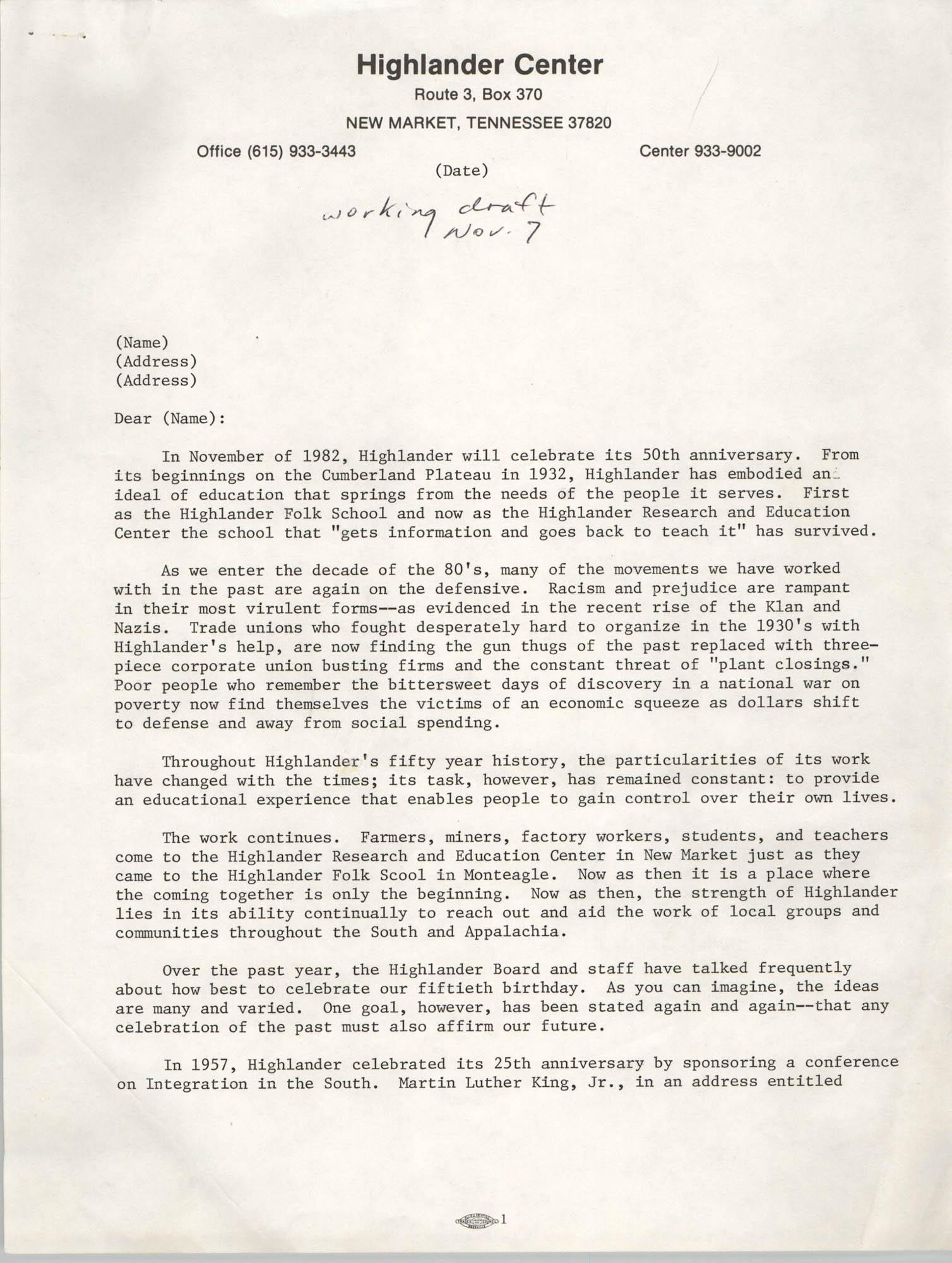 Highlander School 50th Anniversary Letter Draft, November 7, 1982