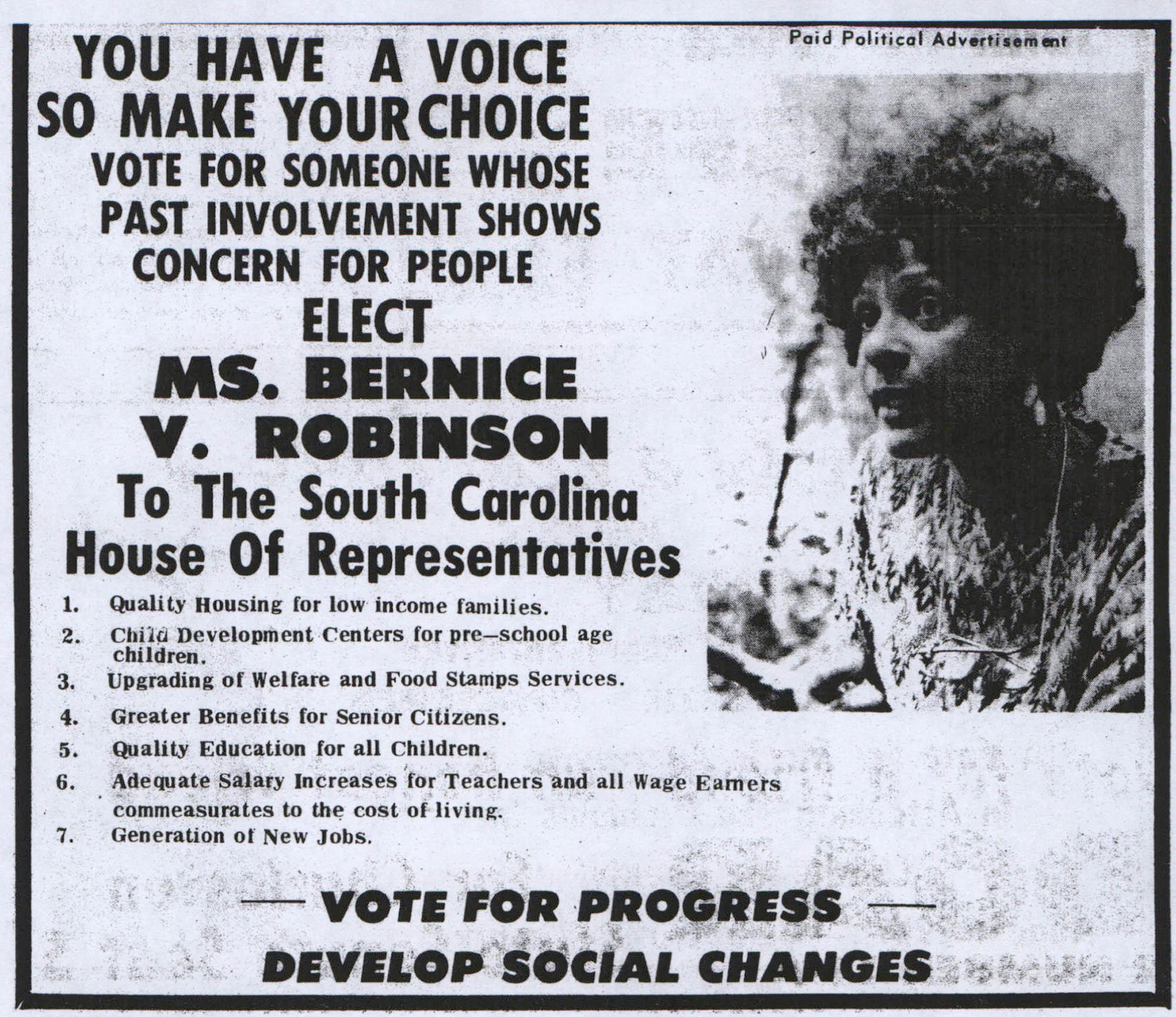 Bernice Robinson Political Advertisement