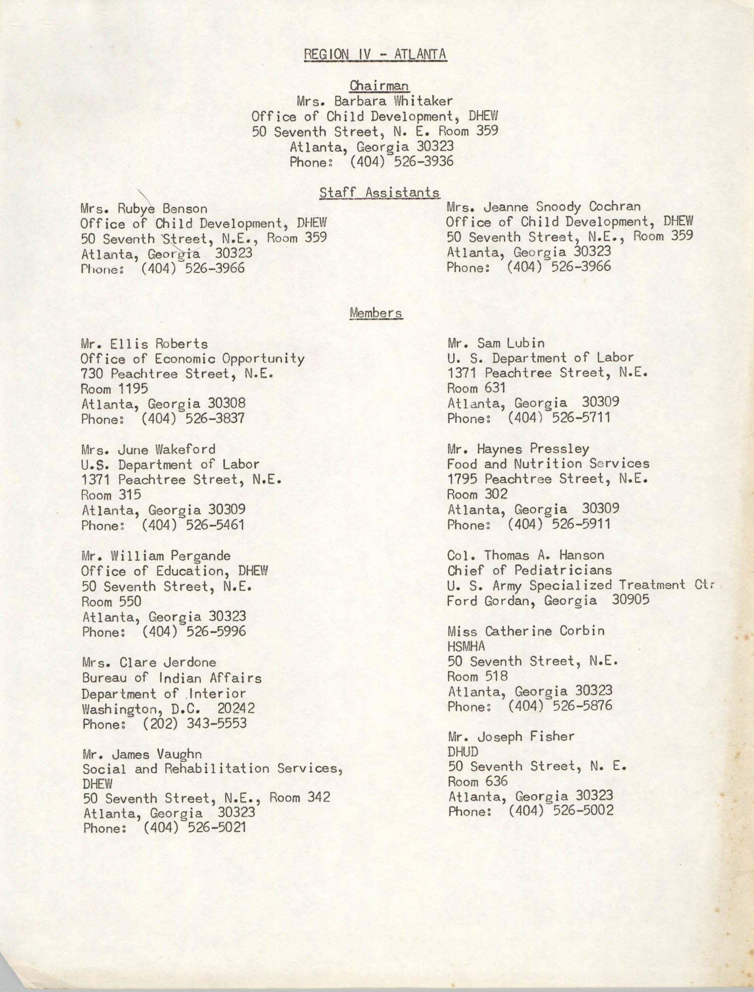 Region IV Staff and Member List