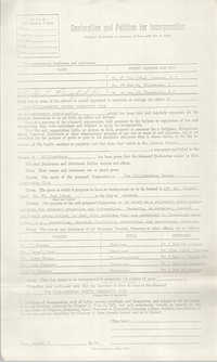 Declaration and Petition for Incorporation of the Williamsburg County Community Club
