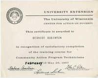 Bernice Robinson Community Action Program Technicians Certificate