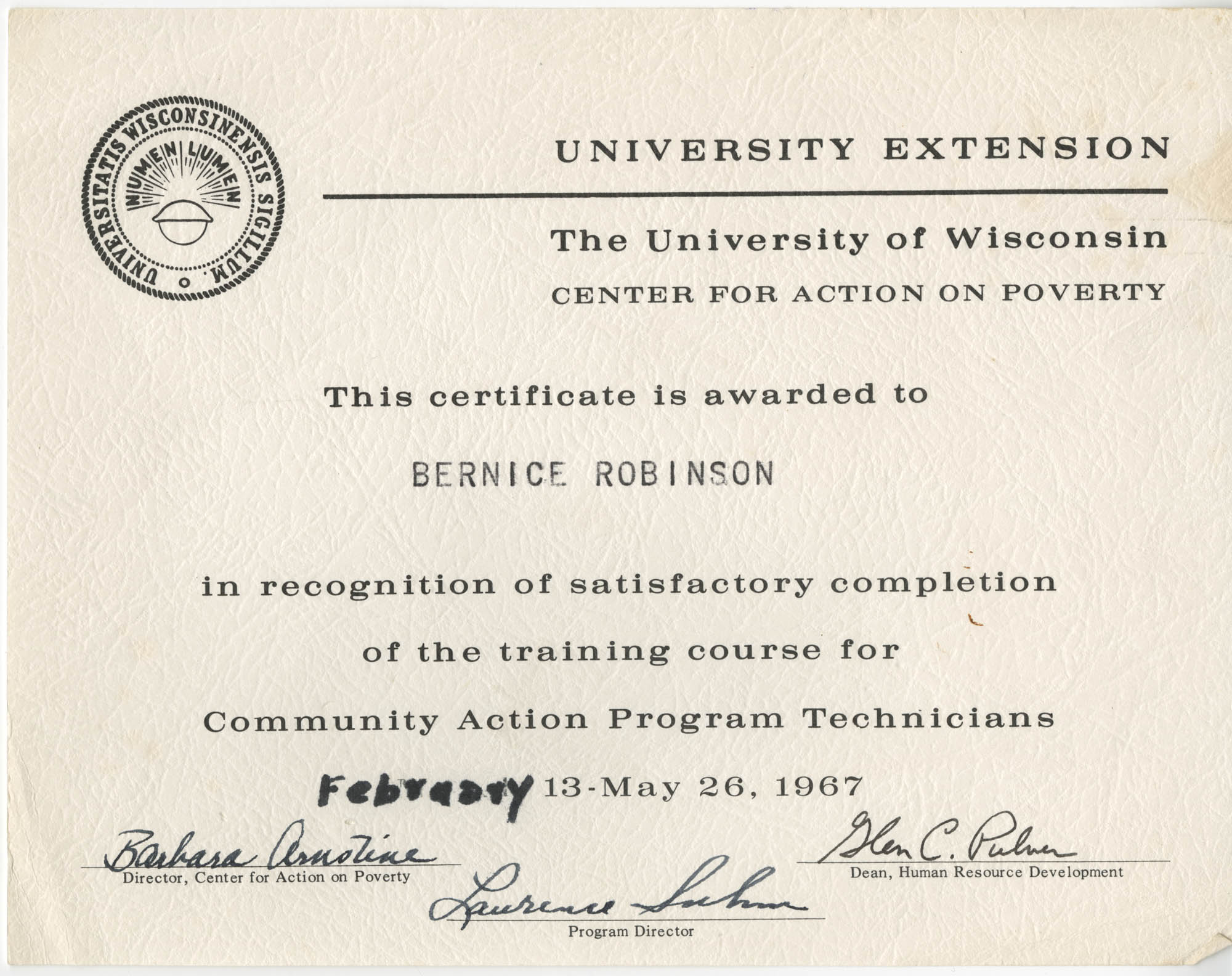 Bernice Robinson Community Action Program Technicians Certificate